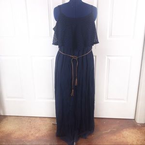Trixxi 3X navy layered belted maxi dress